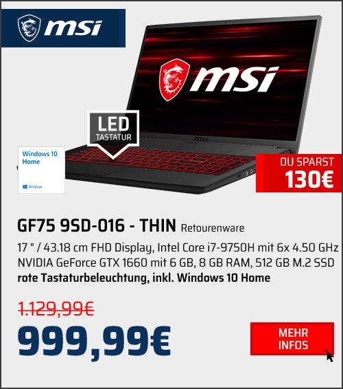 MSI GF75 9SD-016 - THIN