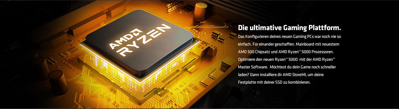 Mainboard mit neustem AMD 500 Chipsatz und AMD Ryzen 5000 Prozessor