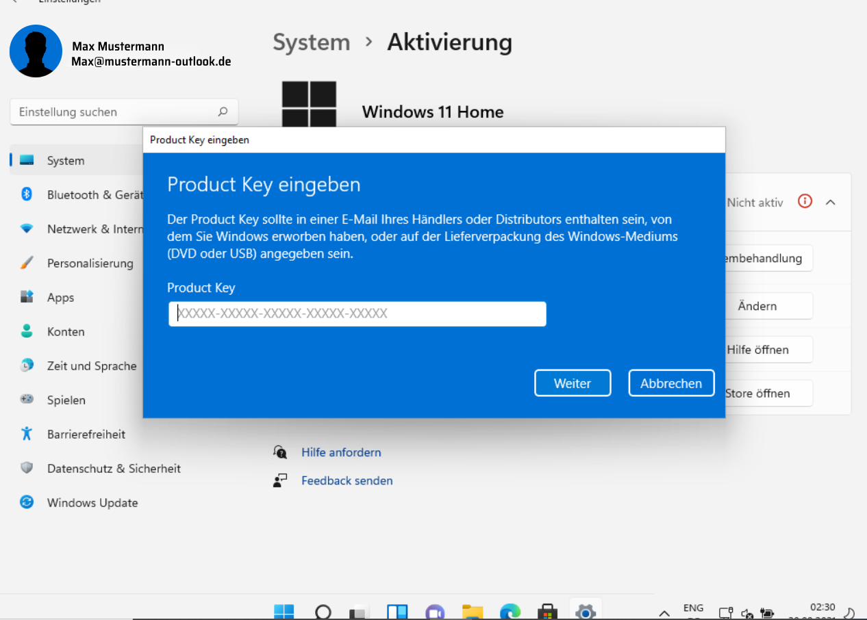 Windows 11 aktivieren: Product Key eingeben