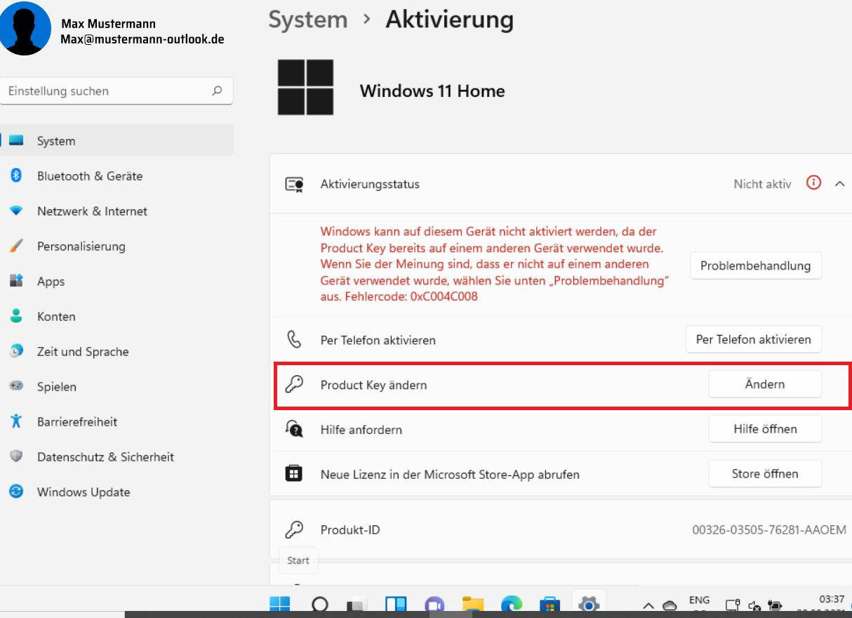Windows 11 aktivieren: Produkt Key ändern