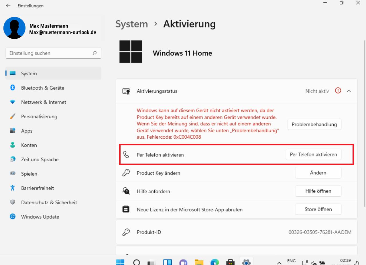 Windows 11 per Telefon aktivieren
