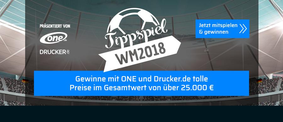 Tippspiel WM 2018: Gewinne mit ONE und Drucker.de tolle Preise im Gesamtwert von 25.000 €
