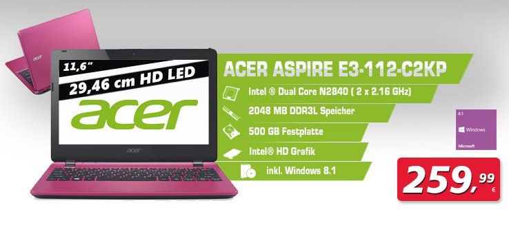 Acer Notebook Pink